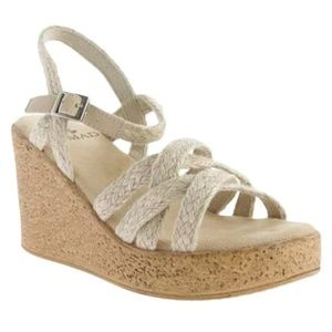 NOMAD VENICE SIZE 10 WEDGE NATURAL SANDALS.